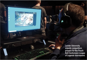 Lander University eports competitors prepare for the Peach Belt Conference League of Legends tournament