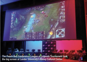 The Peach Belt Conference League of Legends Tournament took the big screen at Lander University's Abney Cultural Center