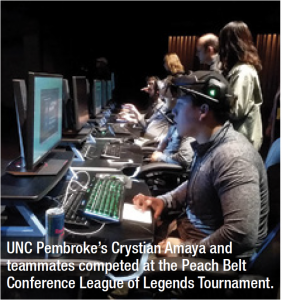 UNC Pembroke's Crystian Amaya and teammates competed at the Peach Belt Conference League of Legends Tournament.