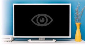 Streaming TV: TV set up with eye icon in the center.