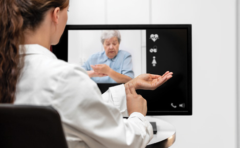 Elderly patient using telehealth services